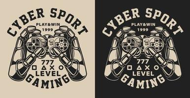 Set of Illustrations with joystick in vintage style
