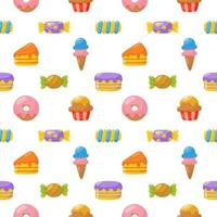 cute candy seamless pattern. sweets desserts isolated on white background