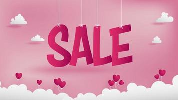 Big Sale text Valentine's banner in paper cut style