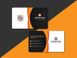 Orange and Black Curved ID Card or Name Card design