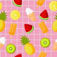 Tropical fruits  with ice cream seamless summer pattern