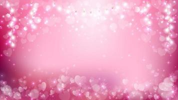 Soft pastel valentine background with hearts and light string