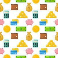 Finance cartoon seamless pattern vector
