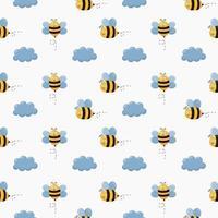 Seamless pattern baby bee cartoon  vector