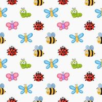 Seamless pattern funny bugs vector