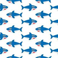 Shark seamless pattern isolated on white background