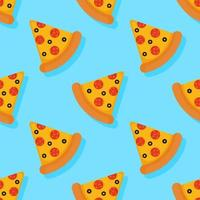 Modello senza cuciture di pizza su sfondo blu