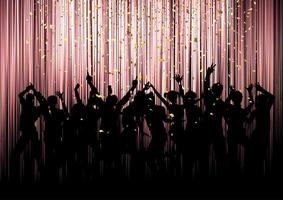 Party crowd on a confetti background