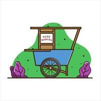 Illustration of satay madura cart