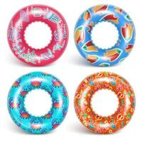 4 inflatable rings with a pattern