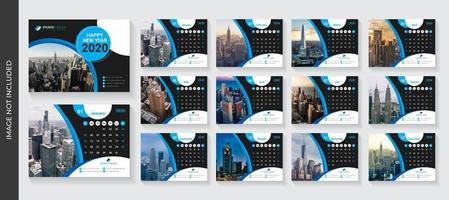 Blue and Black Curve Design Corporate Desk Calendar Template