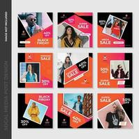 Pink and Orange Geometric Fashion Social Media Post Template Design