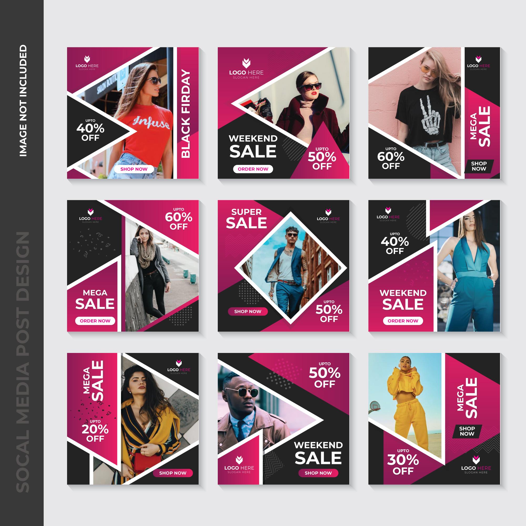 Pink Geometric Fashion Social Media Post Template Design Download Free Vectors Clipart Graphics Vector Art