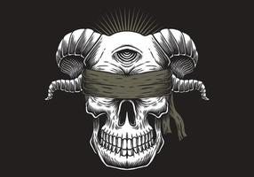 Blind Skull one eye illustration