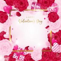 Top view love valentine's day square template