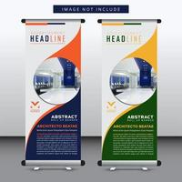 vertical banner design with rounded cutout for image