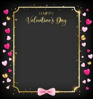 Black valentine day banner with heart glitter