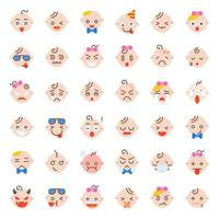 Baby face icon set