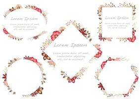 Set of red watercolor floral frames isolated on a white background.