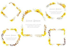 Set of yellow watercolor floral frames isolated on a white background.