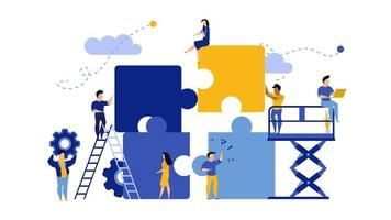 Business team work building puzzle landing page