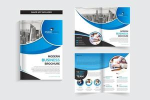 Blue Curved Design Corporate Business Brochure Template