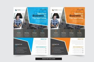 Blue and Orange Business Flyer Templates with Modern Angled Design