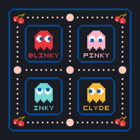 Pacman Ghosts Vector Pixel Icons