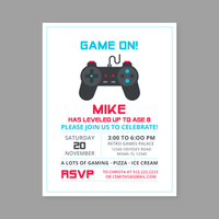 Retro Game Birthday Invitation Template vector