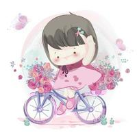 Hand drawn little girl riding bicycle