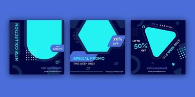 Social media post template collection. Blue and black.