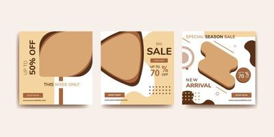 Social media post template collection. Brown and tan.