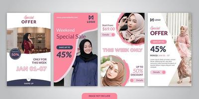Fashion sale social media story template collection