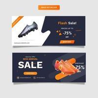 Sport shoes sale banner template set vector