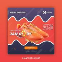 Social media post template with wavy design