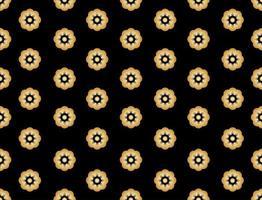 Seamless pattern of golden sakura flower on black