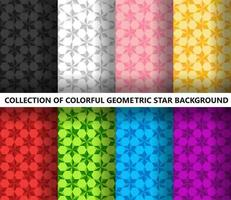 Collection of colorful geometric stars polygonal seamless pattern
