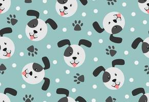 Seamless pattern of dog face, paw and dot on pastel background