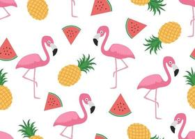Seamless pattern of flamingo with slice watermelon and pineapple on white