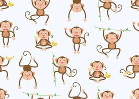 Seamless pattern of monkeys on vines and with bananas in different poses on white