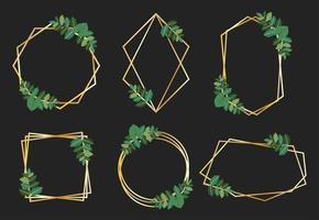Collection of golden frames with green leaves vector