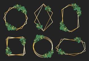 Colección de marcos dorados con hojas verdes vector