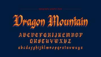 Medeltida gammalt manuskript kalligrafi orange konstnärliga teckensnitt