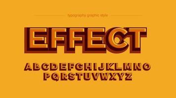 Tipografia de efeito 3D em negrito laranja vetor