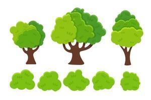 Platt tecknad träd och buskeuppsättning