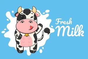 Cartel de dibujos animados vaca bebiendo leche vector