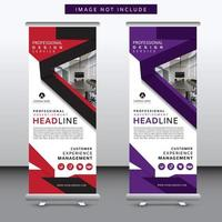 red and purple modern roll up banner set with angle design vector