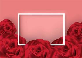Valentines day white frame surrounded by roses vector