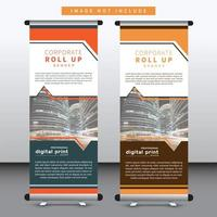 business stand banner design with angled cutout design