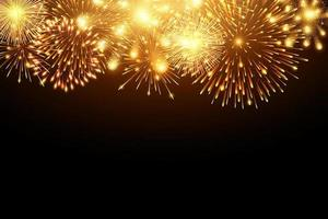 Collection of golden firework and light glow special effects along top of black background